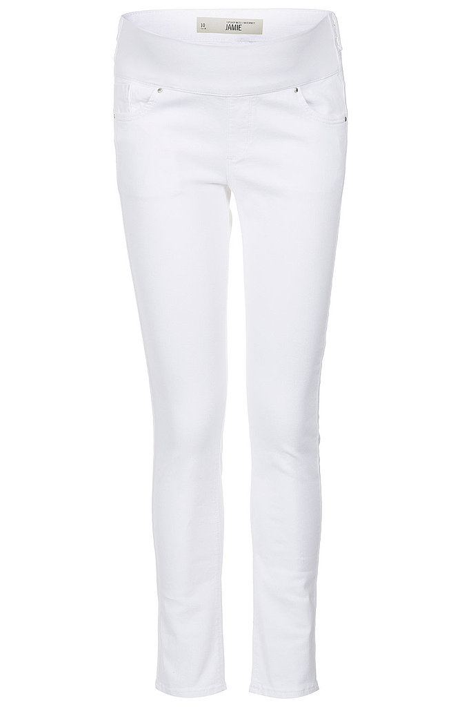 Proving that there's no need to sacrifice style just because you've got a baby on board, Topshop's moto white jeans ($30, originally $80) are sure to become a Fall maternity wardrobe staple— especially when worn with a just-as-cool black moto jacket.