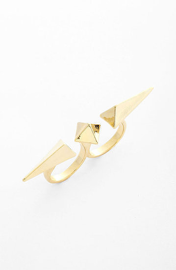 Think of this Cara Pyramid stud double finger ring ($22) as an instant edgy update for just about anything you put on.