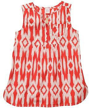 Sleeveless Print Poplin Top