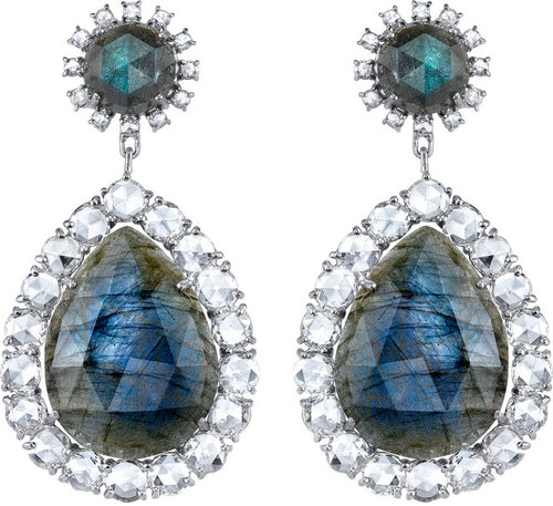 Irene Neuwirth Labradorite & Diamond Drop Earrings