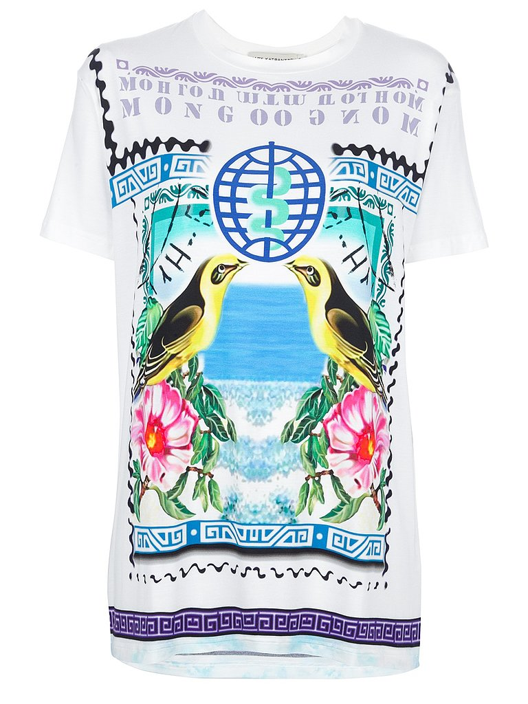 Mary Katrantzou is the queen of funky patterns, and this Rodizio t-shirt ($448) was love at first sight. The bold colors, canaries, hibiscus flowers, and blue ocean water graphics have me in a beach state of mind. It'll look great tucked into a pair of black leather shorts, or worn out over skinny jeans.  — JM