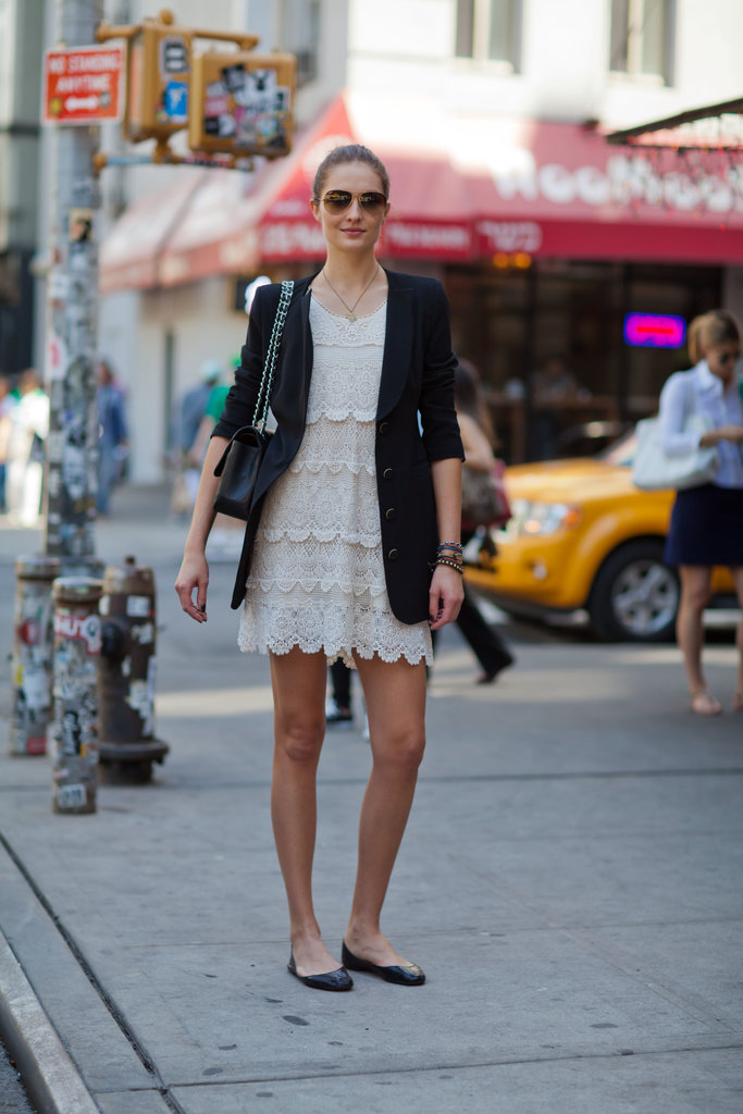 Make your favorite LWD work-appropriate with a blazer and ballet flats. Source: Le 21ème | Adam Katz Sinding