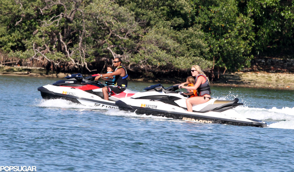 Lindsey Vonn and Tiger Woods took his kids, Sam and Charlie, for a ride on jet skis in Palm Beach.