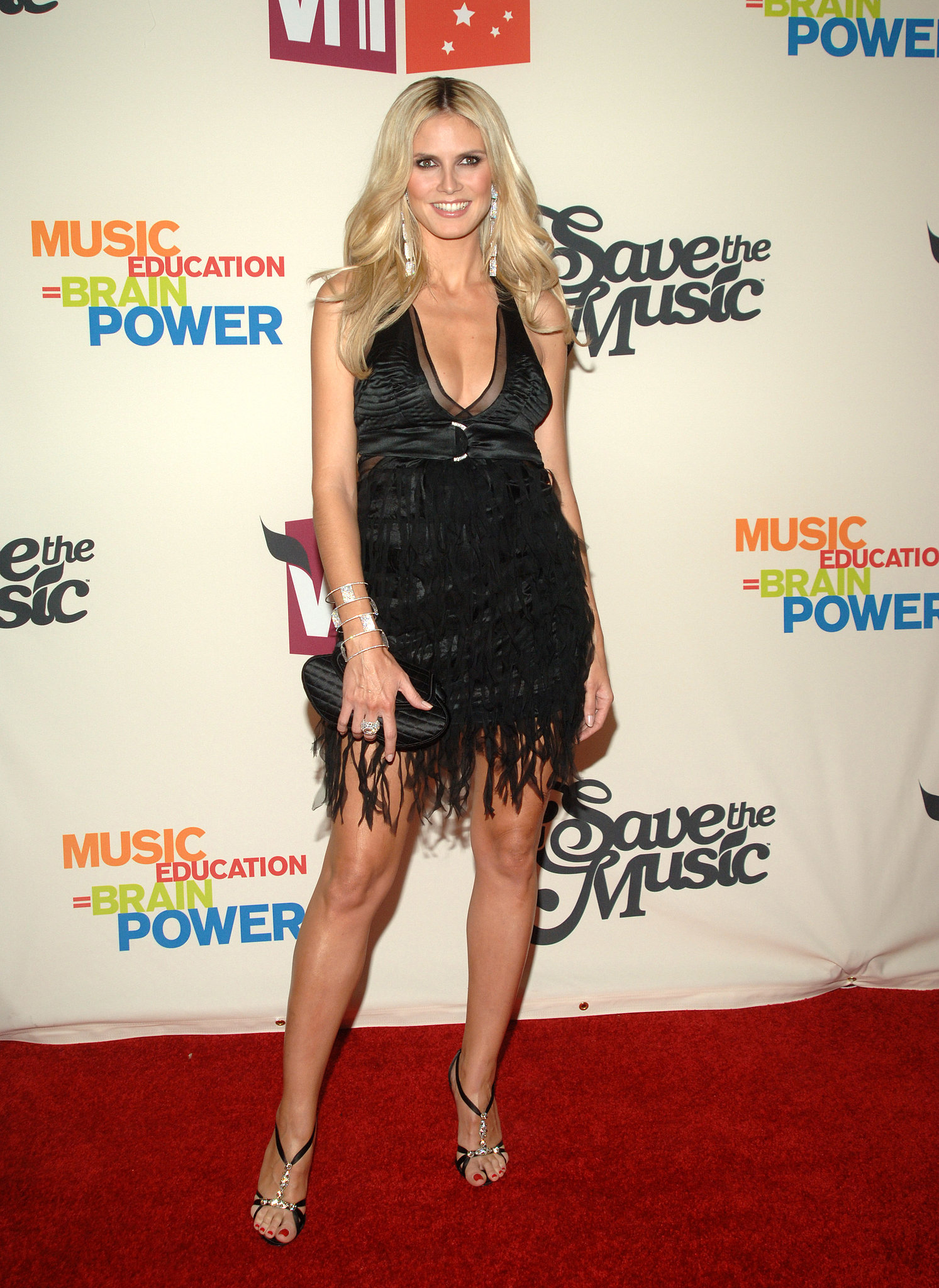 Heidi Klum in a Black Satin Halter at the 2005 Save the Music Benefit