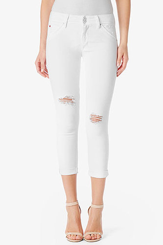 Collin Mid-Rise Skinny Crop- White Vintage