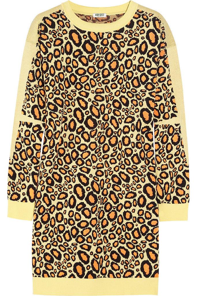 Leopard, always in style, has a cartoon feel in Kenzo's sweater dress ($224, originally $447).