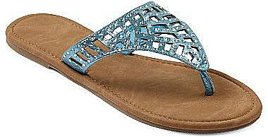 Metallic-Shield Flip Flops