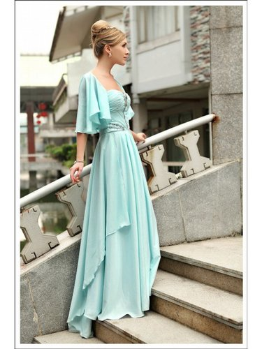 Applique Chiffon A-line Strapless Floor length Blue Prom Dress WNP0033