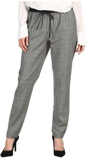 Tibi - Glenplaid Easy Pant (Cream/Black Multi) - Apparel