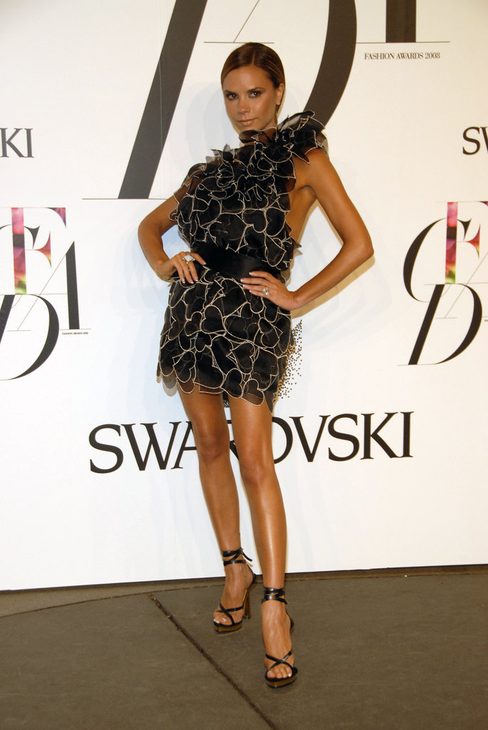 Victoria Beckham looked all legs in 2008 in a frothy Marc Jacobs mini made of heart-shaped pieces.