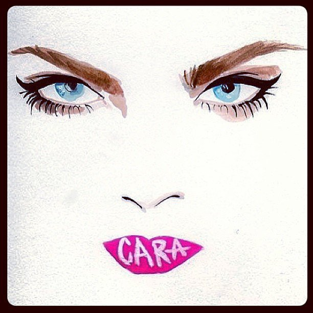 This illustration of Cara Delevingne nailed her bold eye look perfectly.  Source: Instagram user caradelevingne