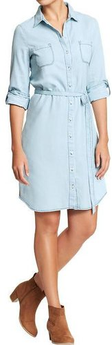 Women's Chambray Belted-Shirt Dresses