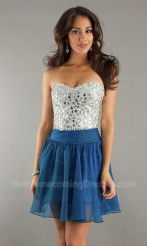 Junior Sequin Open back Strapless Short Blue Homecoming Dress Discount