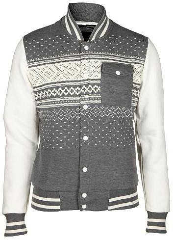 Criminal Damage Men's Norway Patterned Grey Marl Varsity Jacket