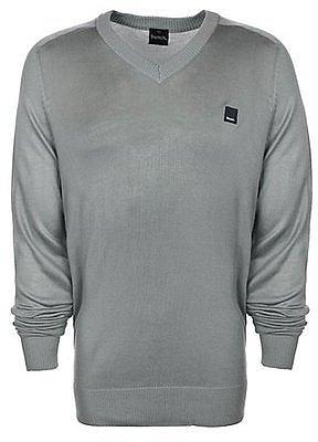 Bench Mens Off V Neck Knit Jumper Top Mid Grey
