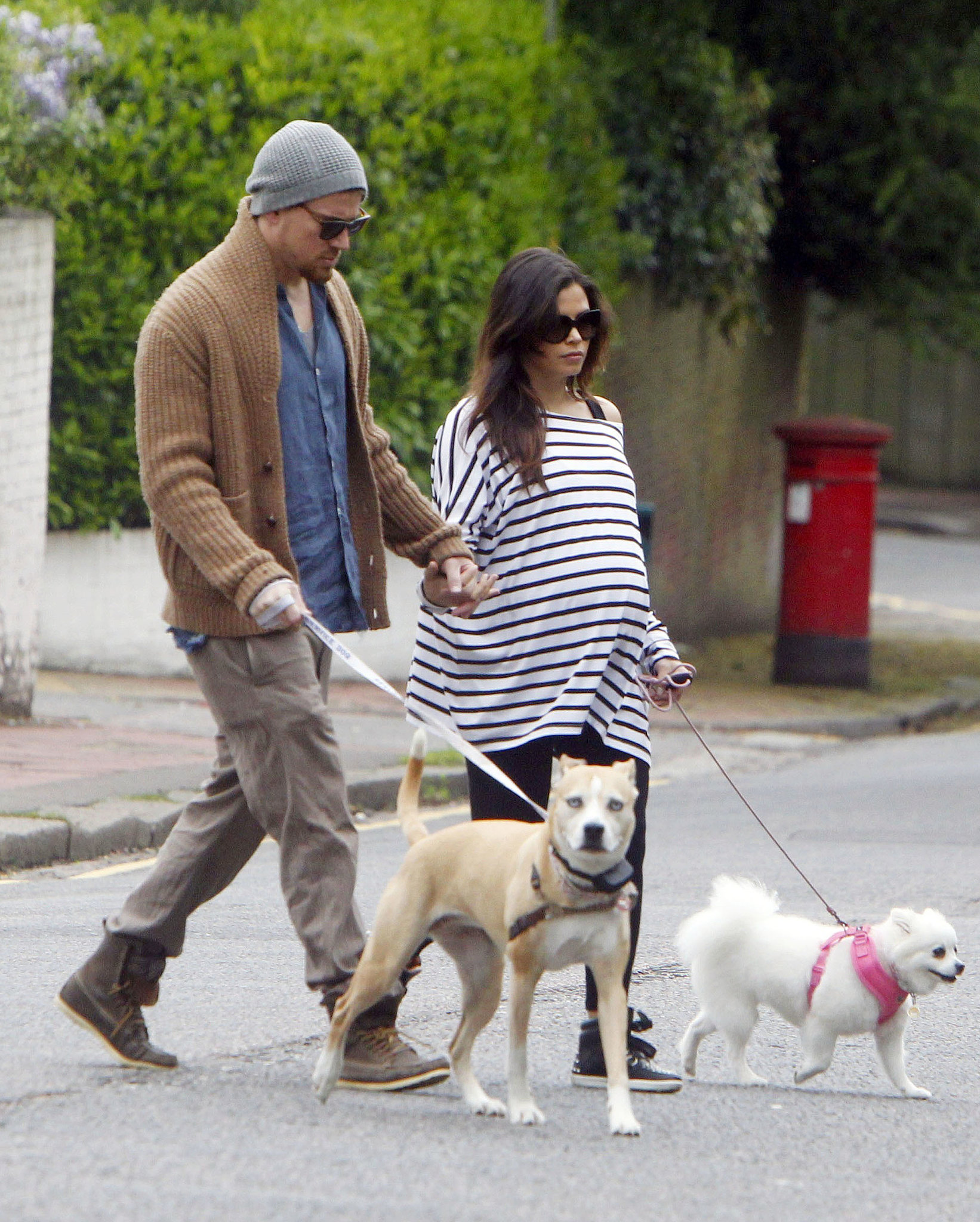 Channing and Jenna walked around London in May as they awaited the arrival of their first child.