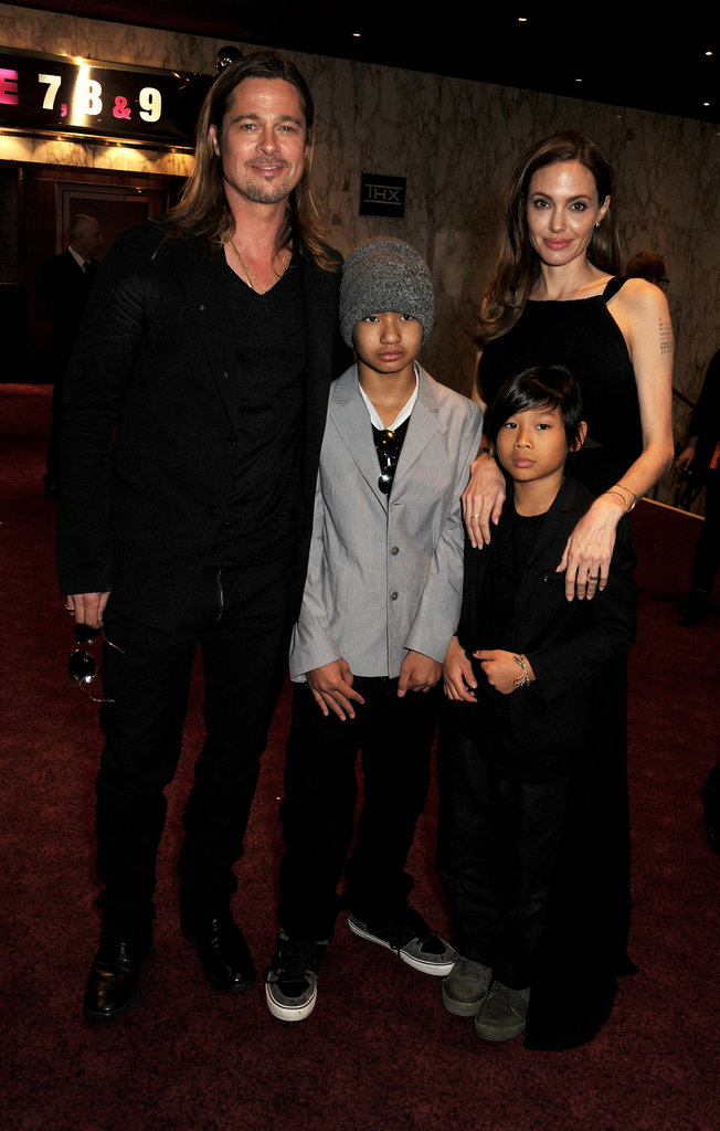 Angelina Jolie and her boys, Maddox and Pax, supported Brad Pitt at his World War Z premiere in London in June 2013.