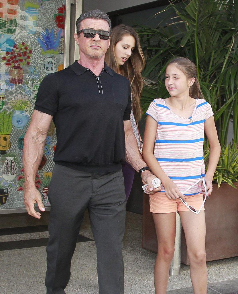 Sylvester Stallone and his daughters Sistine and Scarlet went to lunch in LA on Saturday.