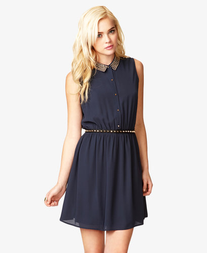 FOREVER 21 Studded Collar Chiffon Dress
