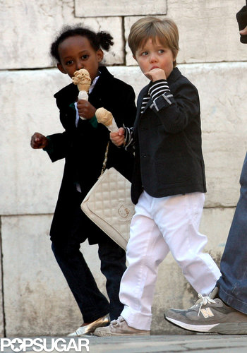 Zahara and Shiloh ate ice cream while walking in Venice, Italy, in April 2010.