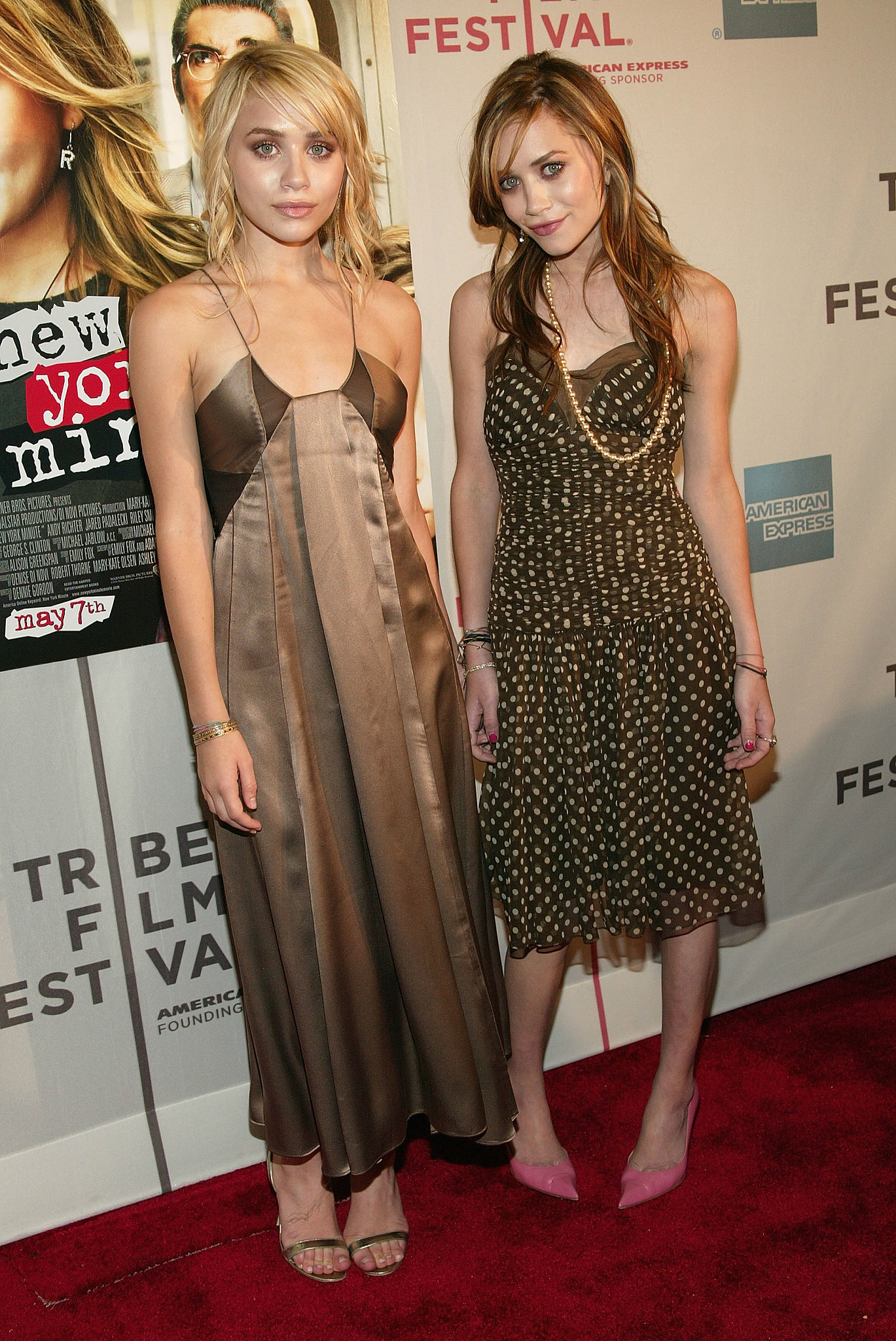 Twinning combo: For the NYC premiere of New York Minute, the leading ladies coordinated in earth tones and feminine fabrics.   Ashley went minimalistic in a silky bronze slip dress and two-strap sandals. Mary-Kate played with color and prints in a polka-dot chiffon confection and pink pointed pumps.