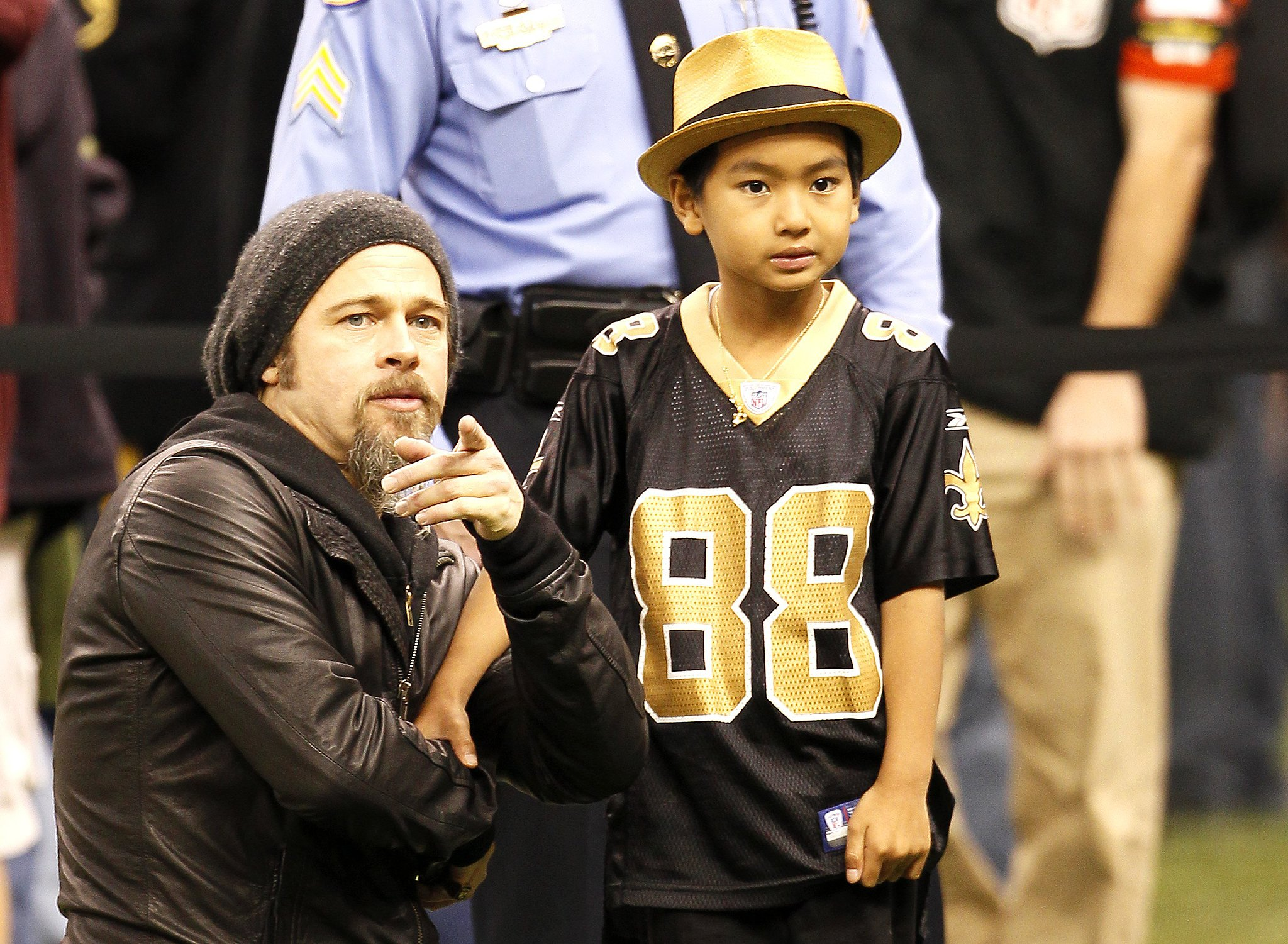 Brad pitt checked out a New Orleans Saints game with Maddox in January 2010.