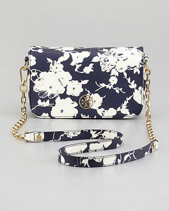 Tory Burch Robinson Floral-Print Mini Crossbody Bag, Navy