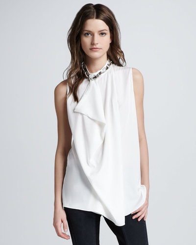3.1 Phillip Lim Asymmetric Draped Beaded Silk Tank, White