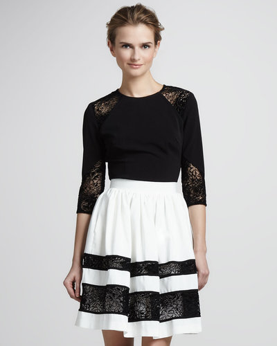 Nha Khanh High-Waist Faille Skirt, Ivory/Black