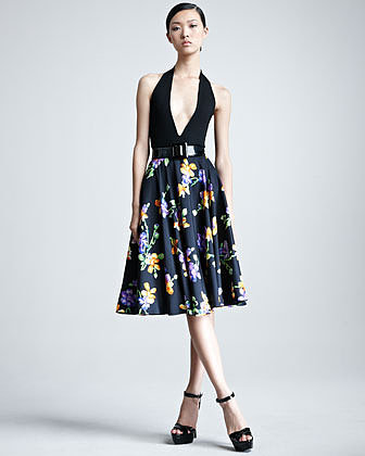 Ralph Lauren Collection Lenorah Floral-Print A-Line Skirt