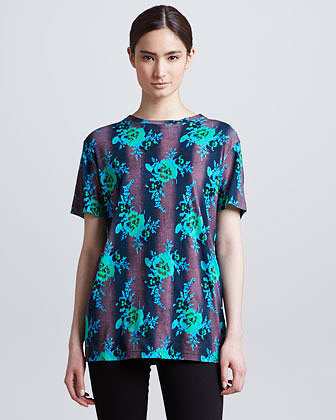 Christopher Kane Floral-Print Tee, Green