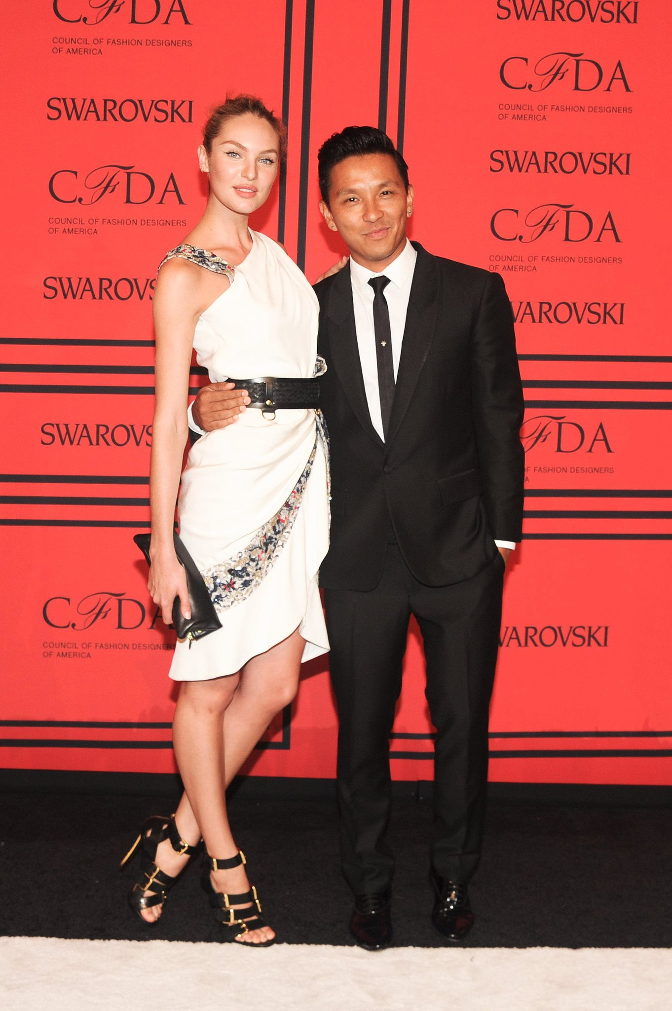 Candice Swanepoel with Prabal Gurung at the 2013 CFDA Awards. Source: Joe Schil