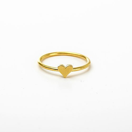 solid heart ring, gold dipped, size 5