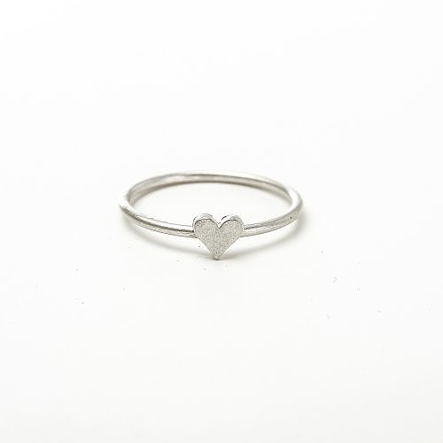 solid heart ring, sterling silver, size 7