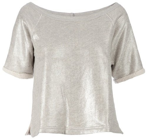 Enza Costa Metallic cropped t-shirt