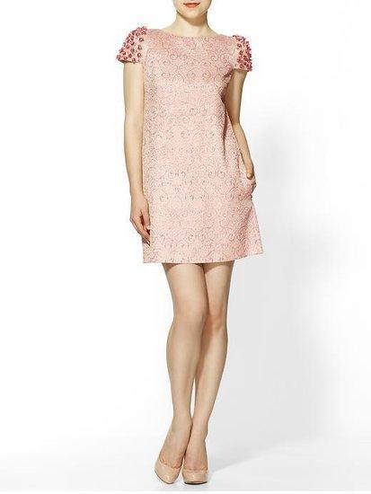 RED Valentino Flower Brocade Cap Sleeve Dress