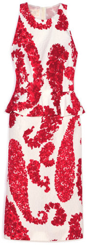 Giambattista Valli Red & White Peplum Dress