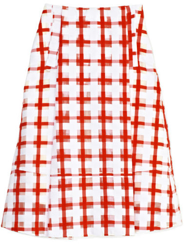 Marni Red Checkered Skirt