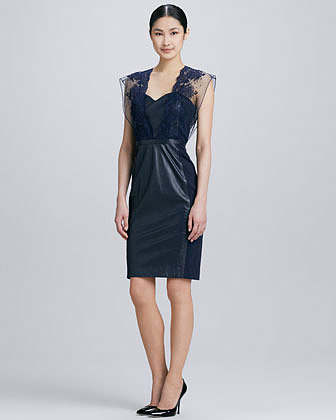 Catherine Deane Embroidered Lace Leather Cocktail Dress