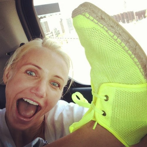 Cameron Diaz struck a silly pose while showing off her new Stella McCartney neon espadrilles. Source: Instagram user stellamccartney