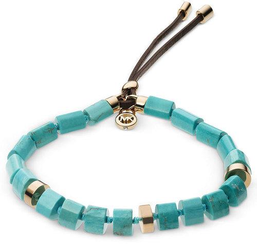 Michael Kors Bracelet, Gold-Tone Semi Precious Turquoise Stretch Bracelet