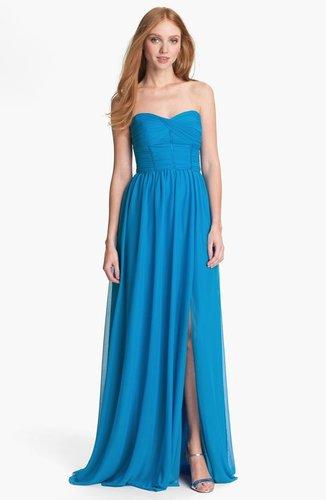 ML Monique Lhuillier Bridesmaids Strapless Mesh Gown