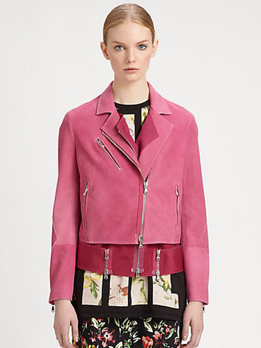 3.1 Phillip Lim Nubuck Leather Layered Biker Jacket