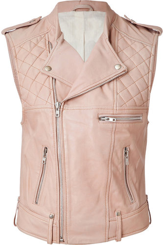 Maje Leather Vest in Powder
