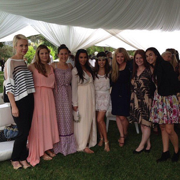 "Kim Kardashian shared a photo with her ""besties"" at her recent baby shower. Source: Instagram user kimkardashian"