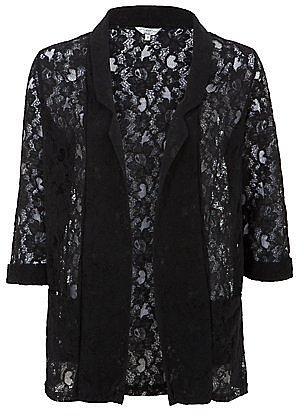 Black Floral Lace Blazer