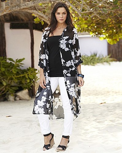 Longline Floral Print Overshirt