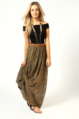 Jess All Over Crochet Belted Maxi Skirt