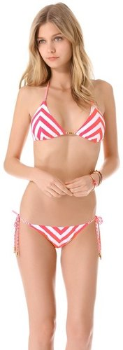 Pilyq Candy Stripe Triangle Bikini Top