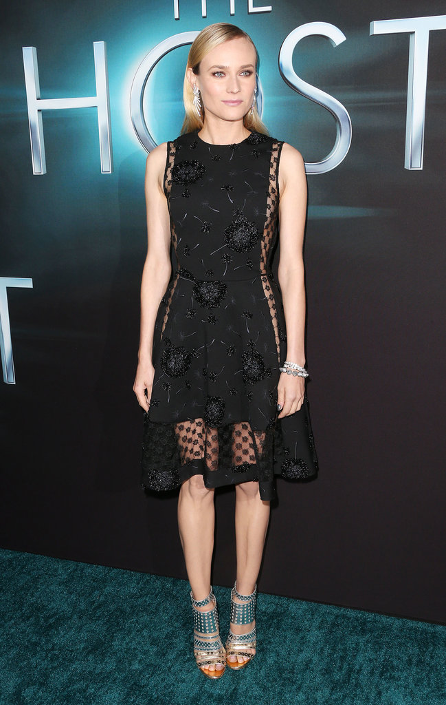 At The Host's premiere in Hollywood, Diane Kruger accented her sheer black dress with a pair of silver metallic cutout booties by Jimmy Choo.